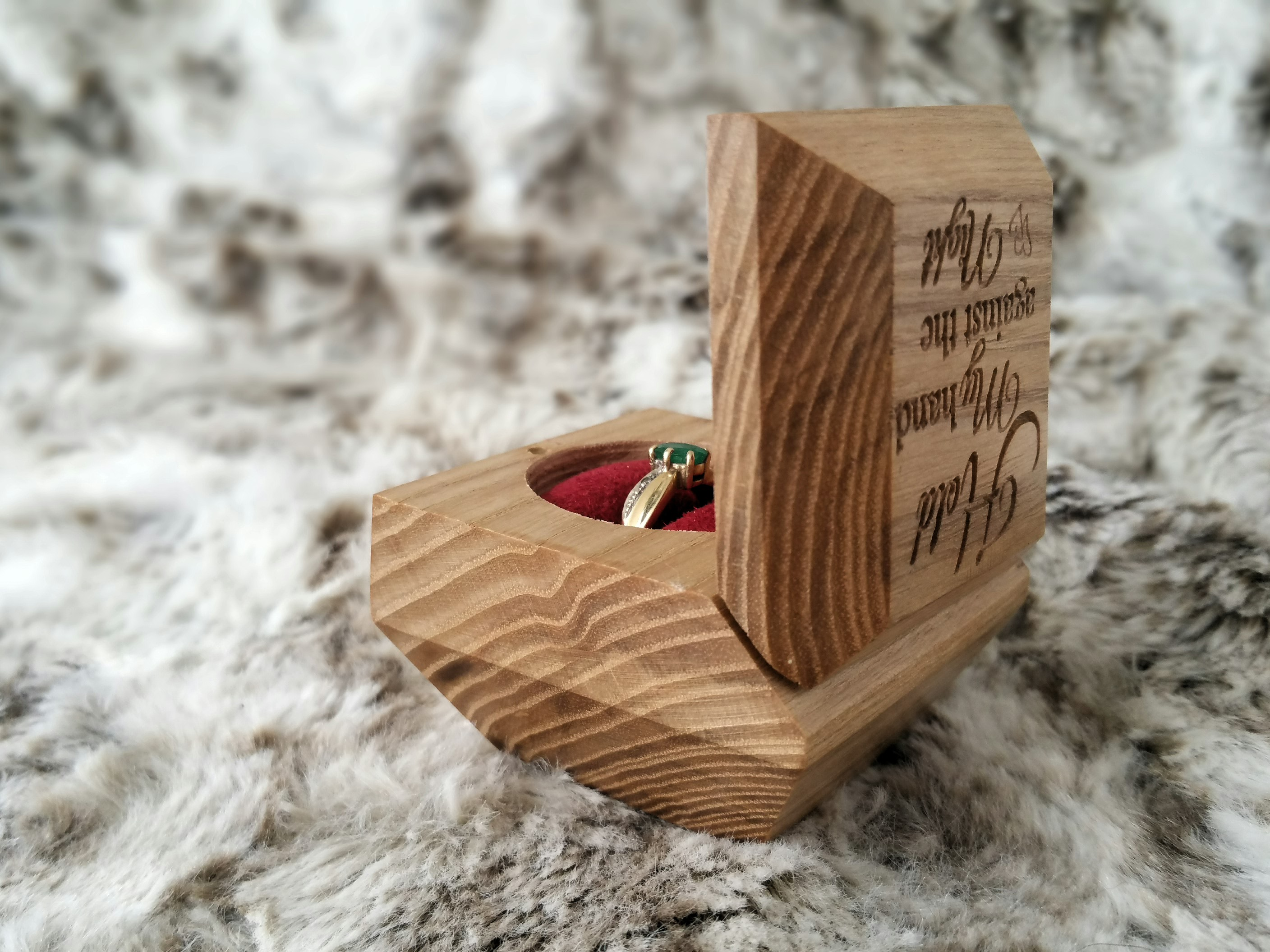Personalised Ring Box | Engagement or Anniversary | Solid Oak |