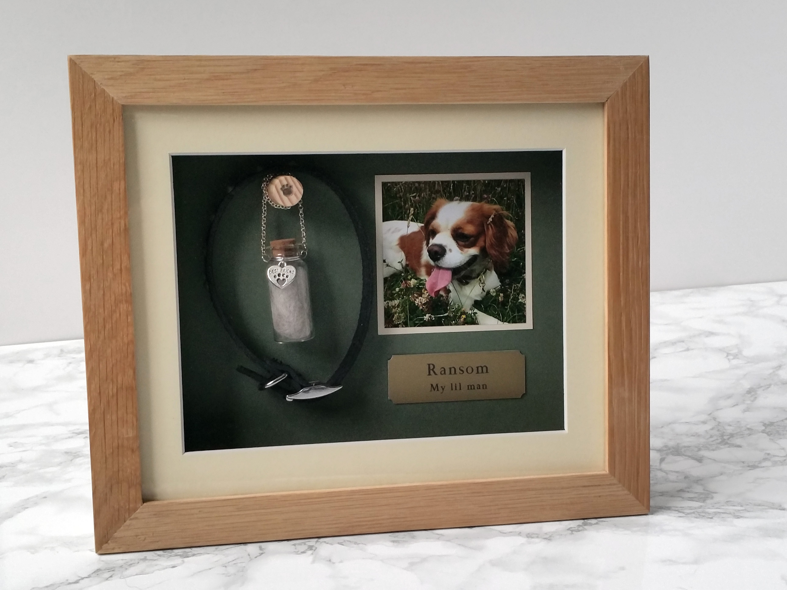 Pet Memorial Shadow Box Frame | Oak