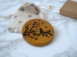 Curly Tailed Cat Compact Mirror | Wooden pocket Mirror | Gift for Cat lover