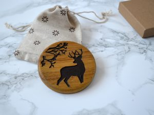 Woodland Stag Compact Mirror| Wooden pocket Mirror |