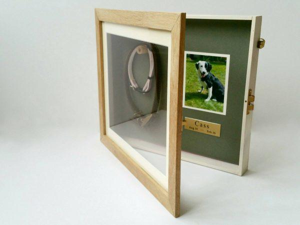Medium Oak Pet memorial frame open