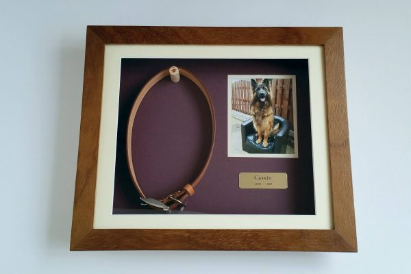 Pet Memorial shaddow box frame Iroko Front