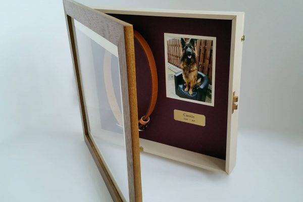 Pet Memorial shaddow box frame Iroko open