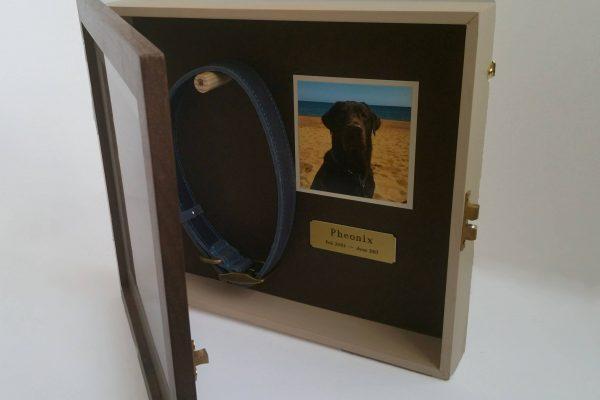 Walnut Medium pet memorial frame open