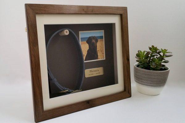 Walnut Medium pet memorial frame left