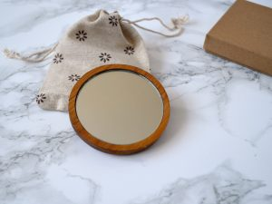 Bird on a Branch Compact Mirror | Wooden pocket Mirror