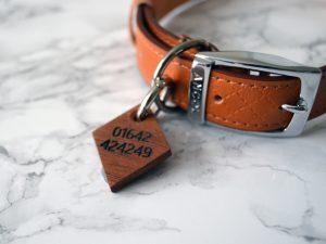 Diamond Pet Tag | Engraved Wooden Dog Tag