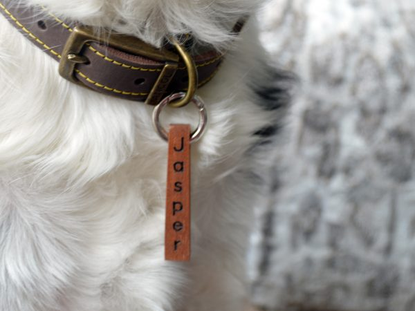 Bar Pet tag Sapele dog