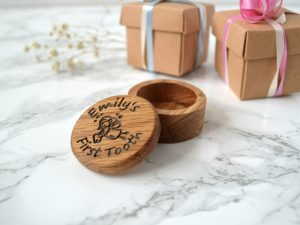 Personalised Tooth Fairy Box | Oak Baby First Tooth Box |